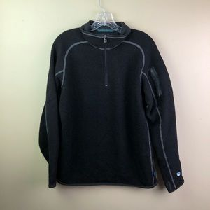 Kuhl Alfpaca Fleece Jacket Pullover Black 1/4 Zip